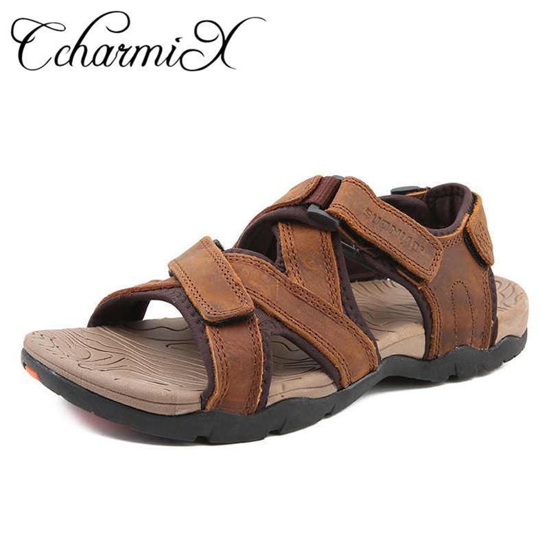 a1a233003df9 CcharmiX 2019 Mens Sandals Summer Big Shoe Genuine Leather Outdoor Men  Sandal Sea Beach Hiking Footwear Male Rubber Shoes Online Cheap Shoes For  Women Buy ...