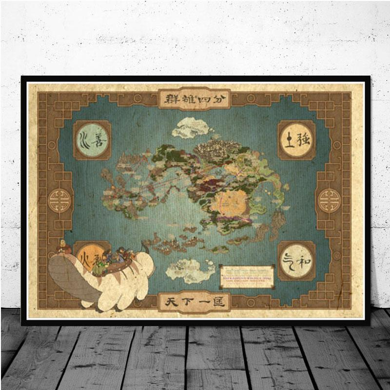 Posters and Prints Avatar The Last Airbender Aang Fight Anime Poster Wall Art Picture Canvas Painting for Room Home Decor