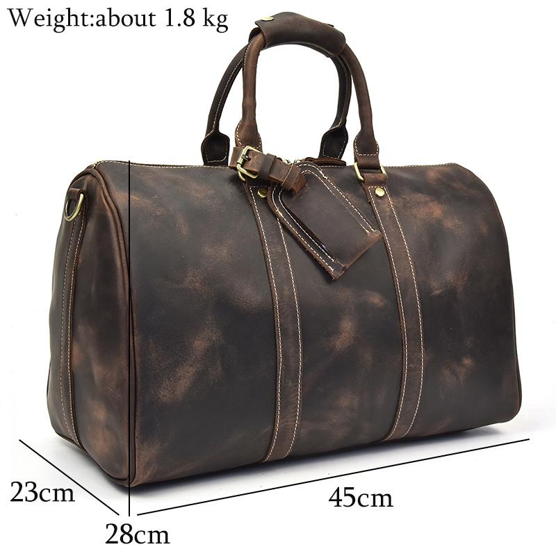 56332ddc8 Man Travel Bag Crazy Horse Genuine Leather Travel Duffel Retro Big Capacity  17 Laptop Handbag Overnight Male Large Luggage Bags Travel Bags Cheap Travel  ...