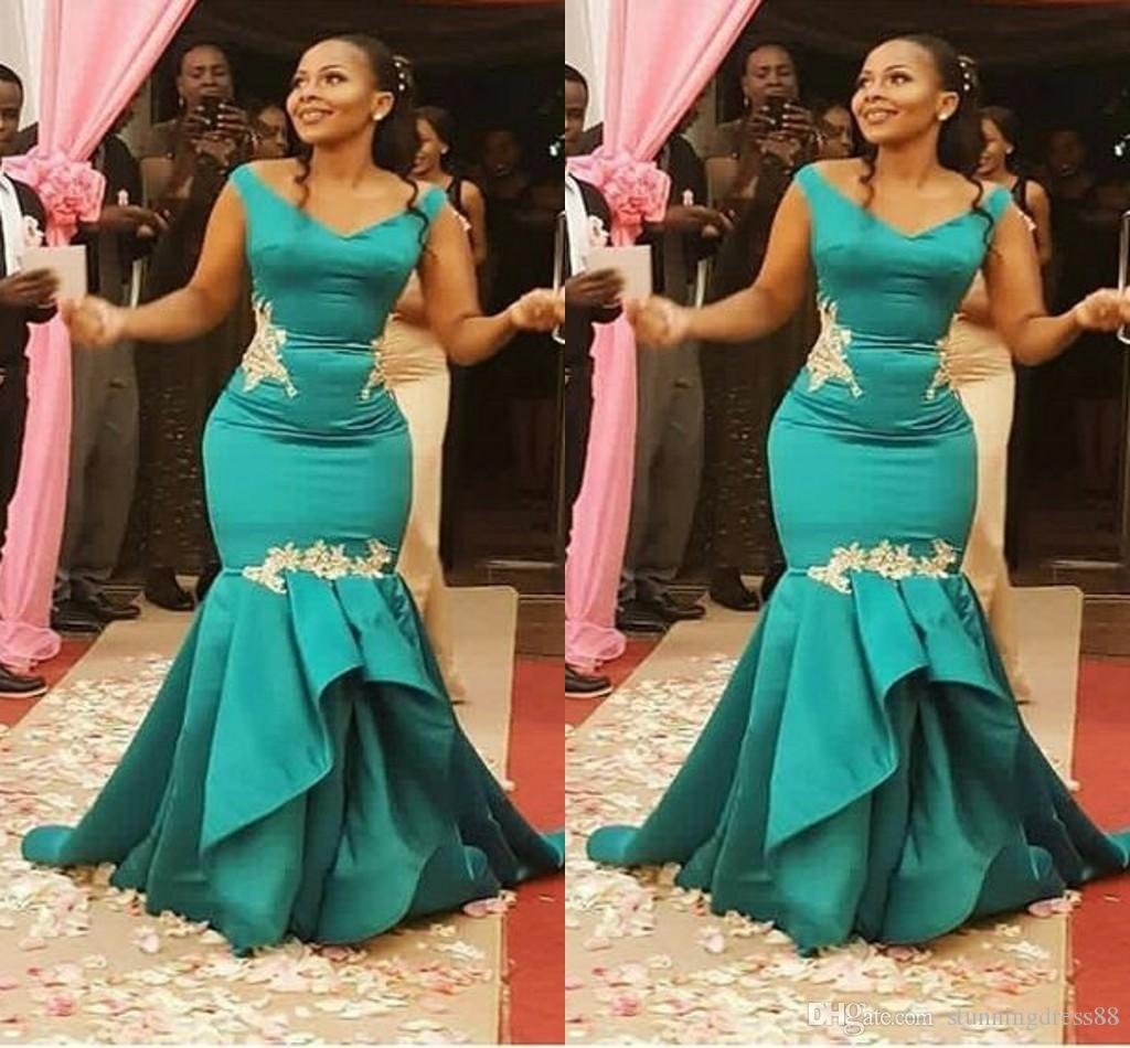 Stunning Jade Aso Ebi African Mermaid Evening Dress Formal Gowns With Cap Short Sleeves Satin Mermaid Ruched Long Cheap Prom Pageant Dress