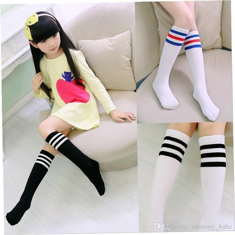 629630c02b7 Kids Knee High Socks Girls Boys Football Stripes Cotton Sports School White  Socks Skate Children Baby Long Tube Leg Warm Fun Cheap Socks Sock Brand  From ...