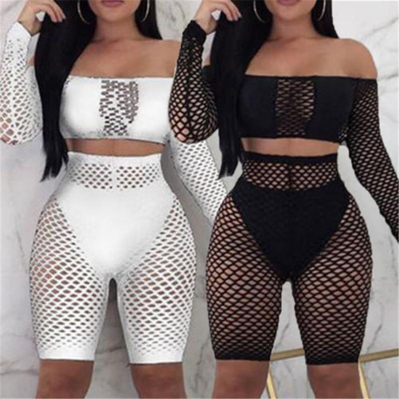 Donne Summer Beach Bikini Cover-up Ladies Lace Crochet Costume da bagno Cover Up Swimwear 2Pcs Maglia Push Up Top + Fishnet Shorts Beachwear