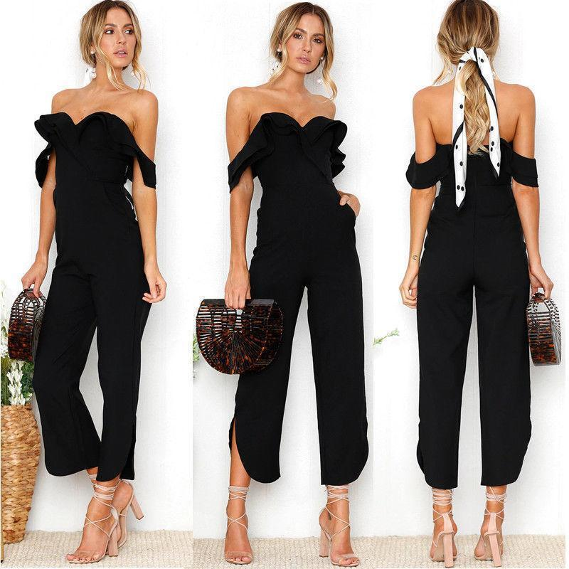 2019 Fashion Formal Summer Women Ladies Jumpsuits Short Sleeve Off