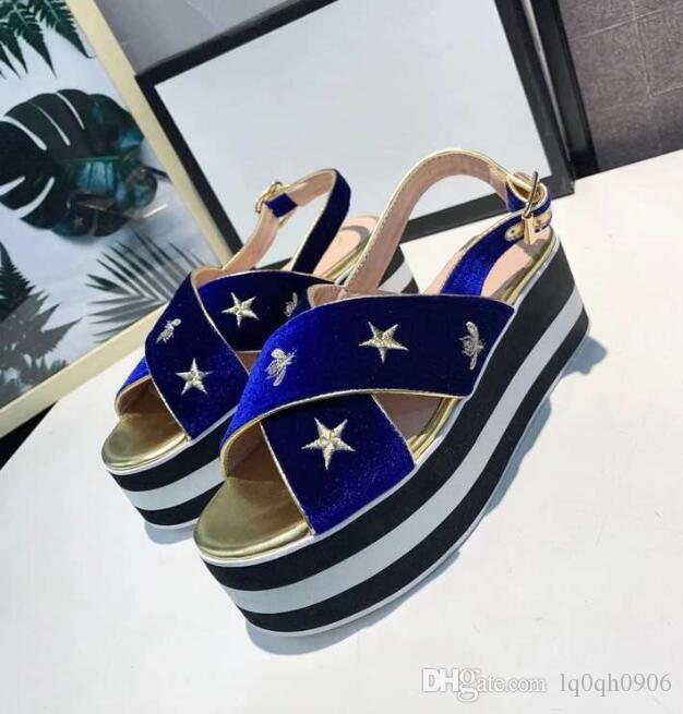 7CM High Platfo Women wedges sandals embroidery designer velvet leather lady Platform Shoes Slides Femininas pantshoes Plus Size 41 42