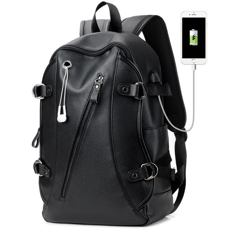 16 Inch Laptop Backpack PU Leather Buiness Backpacks for Men Casual ... f1715a981361b