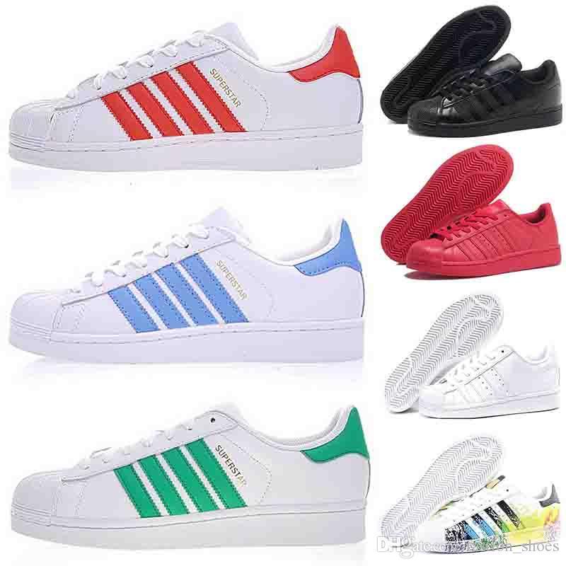 regard détaillé 4b168 d96b2 fashion brand stan smith superstars mens casual shoes super star 80s triple  white black womens girls Pride flats leather designer sneakers