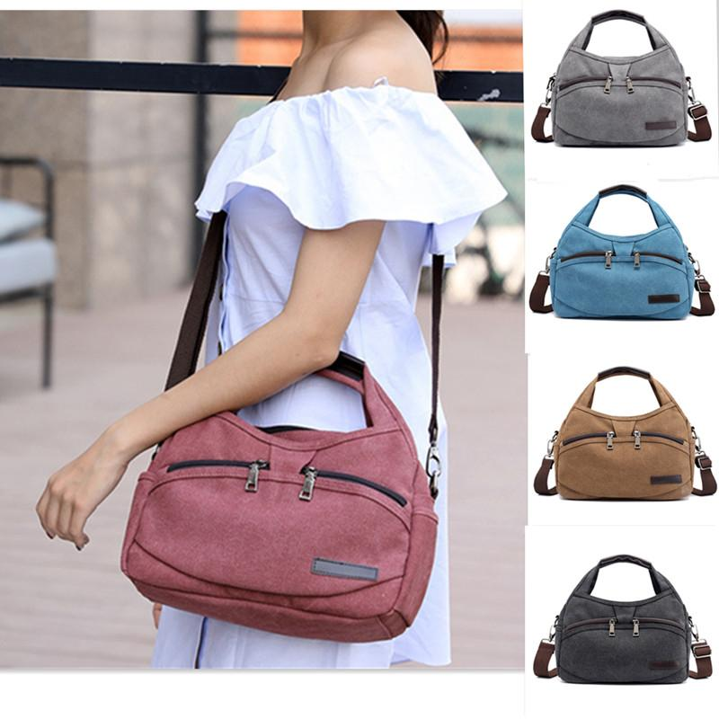 f70c2e2f5f 2019 Brand Canvas Women Messenger Bags Casual Shoulder Bag Vintage Zipper Ladies  Handbags Small Woman Briefcase Crossbody Bags Ladies Purses Fashion Bags ...