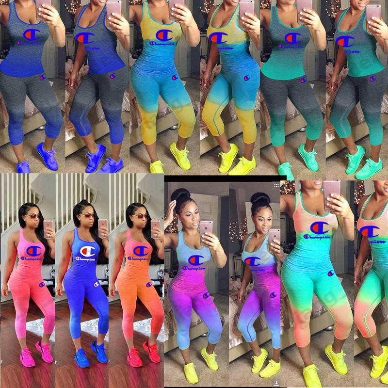 Champions Print Women Gradient Tracksuit 2 Piece Set Outfit Sleeveless Tank Top Vest + Tights Leggings Pants Summer Sportswear S-3xl A41203