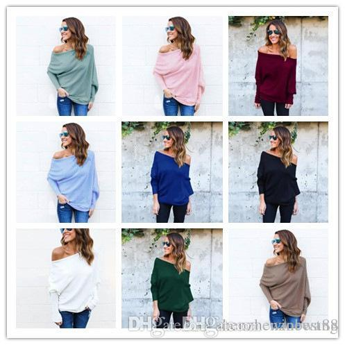 e5aa6eaa65d 2019 3XL Women Long Batwing Sleeved Loose Open Cold Shoulder Top Boat Neck  Bare Shoulders Yarn Knitted Sweater From Winbest88