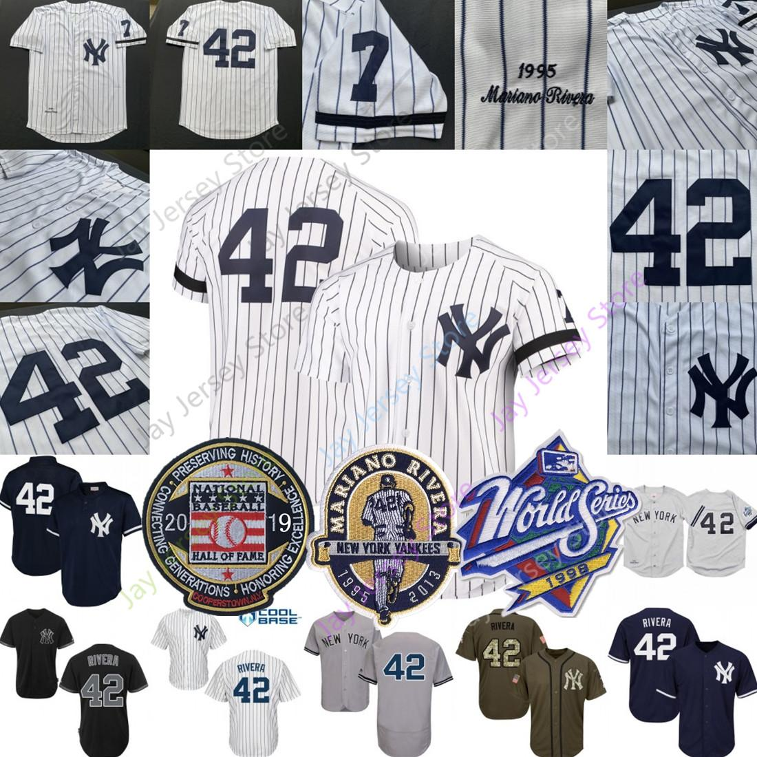 get cheap f0c60 be970 Mariano Rivera Jersey 2019 Hall Of Fame Yankees 1995 1998 WS World Series  New York White Pinstripe Grey Home Away All Stitched