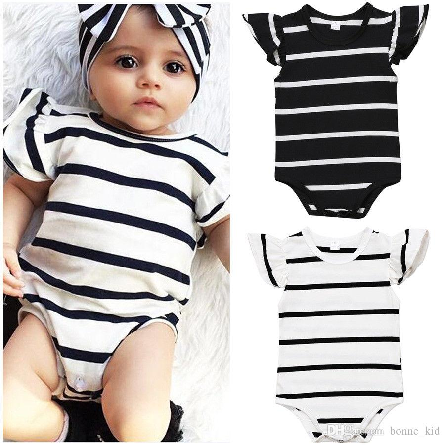 65fc453b422e 2019 Infant Baby Girl Black White Stripes Onesies Romper Short ...