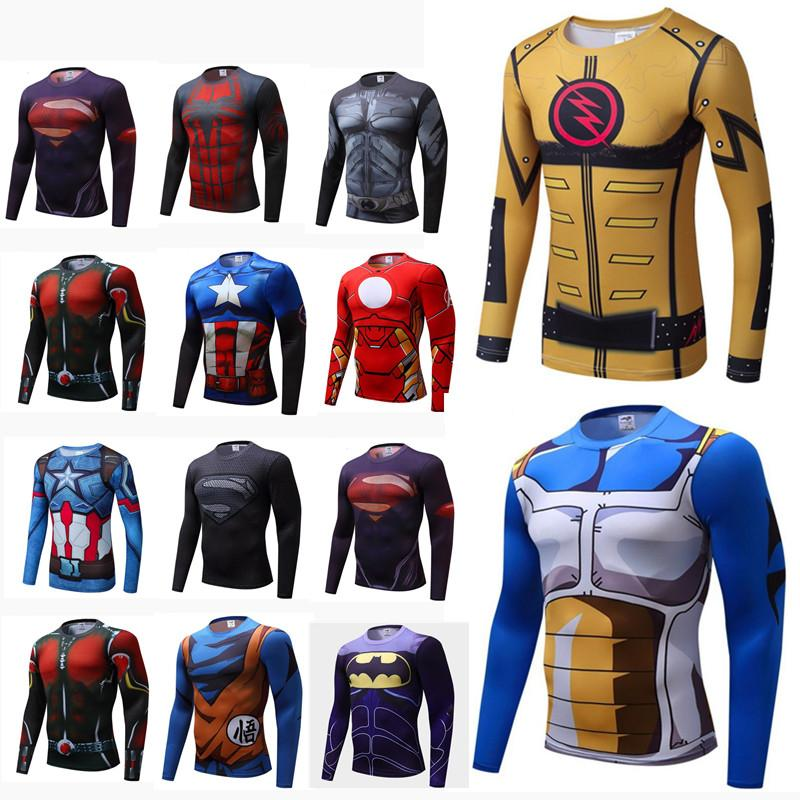 Mens New Compression Shirt Superhero man Capitan America Iron Man 18 Styles Quick Dry Shirt Brand Clothing Fitness Men Long Sleeve T-shirts