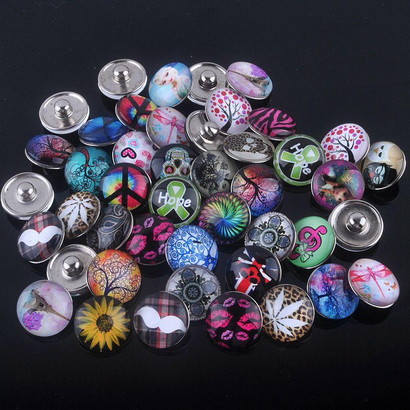 (30pcs/lot) New mix color Sale life tree peace sign christmas 18mm Snaps Jewelry Button For DIY Bracelet Necklace Charms Snaps