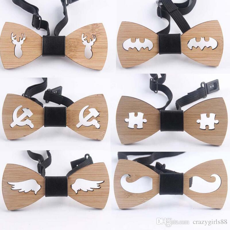Men Fashion Wooden Bow Tie Accessory Wedding Gifts Bamboo Wood