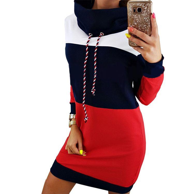 Women Winter Turtleneck Long Sleeve Hooded Plus Size 2018 Autumn Striped  Colorful Hoodie Dress Sweatshirt Dress Gv009 Y19021416