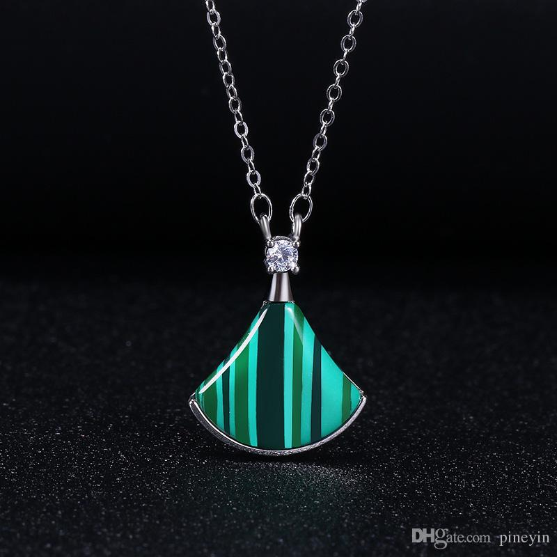 fashion vision trendy 925 sterling silver fan necklace agate fan-shaped skirt pendant necklaces jewelry model no. NE936