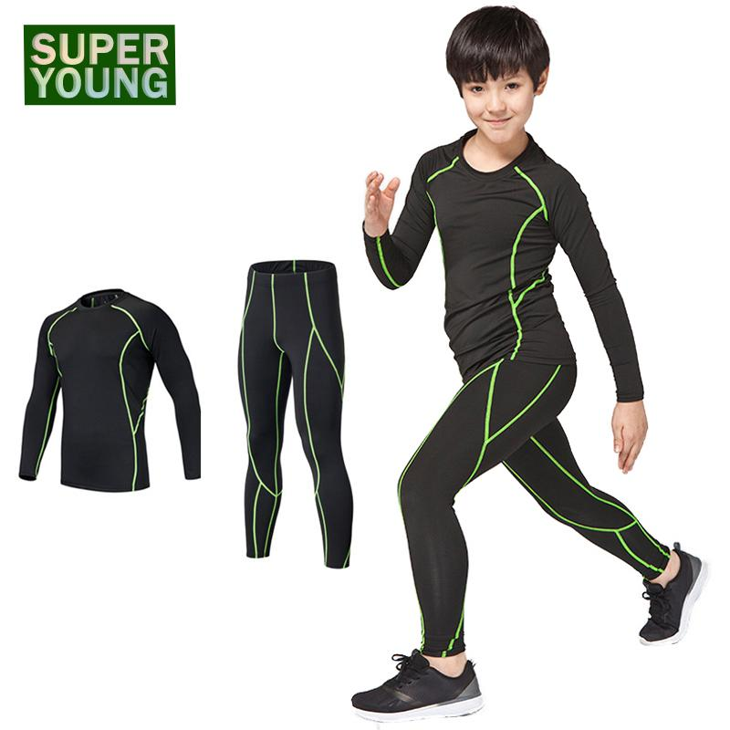 Fitness Boys Training Compression Kids Gym Wear Tights Clothing Sets Children Sport Running Jogging Suits Men Sportswear Clothes