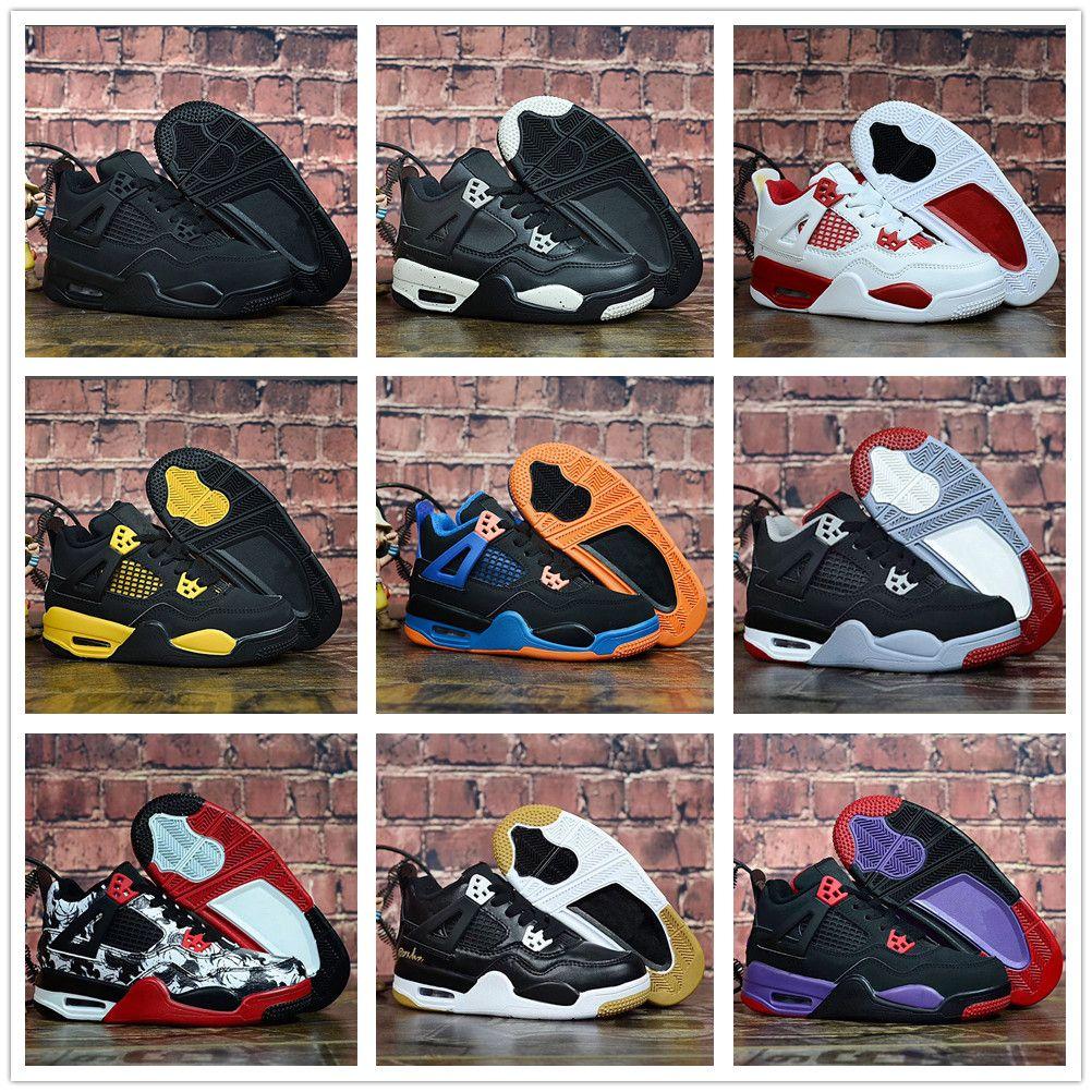outlet store e3d2f a30ce Compre Nike Air Jordan Aj4 Nuevos Zapatos De Baloncesto Para Niños 4 Niños  Zapatillas De Bebé Rojo Negro Blanco Azul Niños Deportes IV 4s Entrenadores  2019 ...