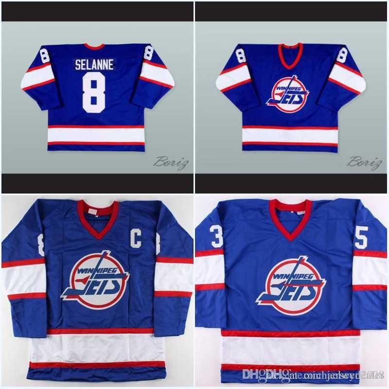 new product 8d7d5 f5c3e Men Winnipeg Jets Jersey 13 Teemu Selanne 10 Dale Hawerchuk 9 Bobby Hull 16  Laurie Boschman 27 Numminen 8 Selanne History Hockey Jersey