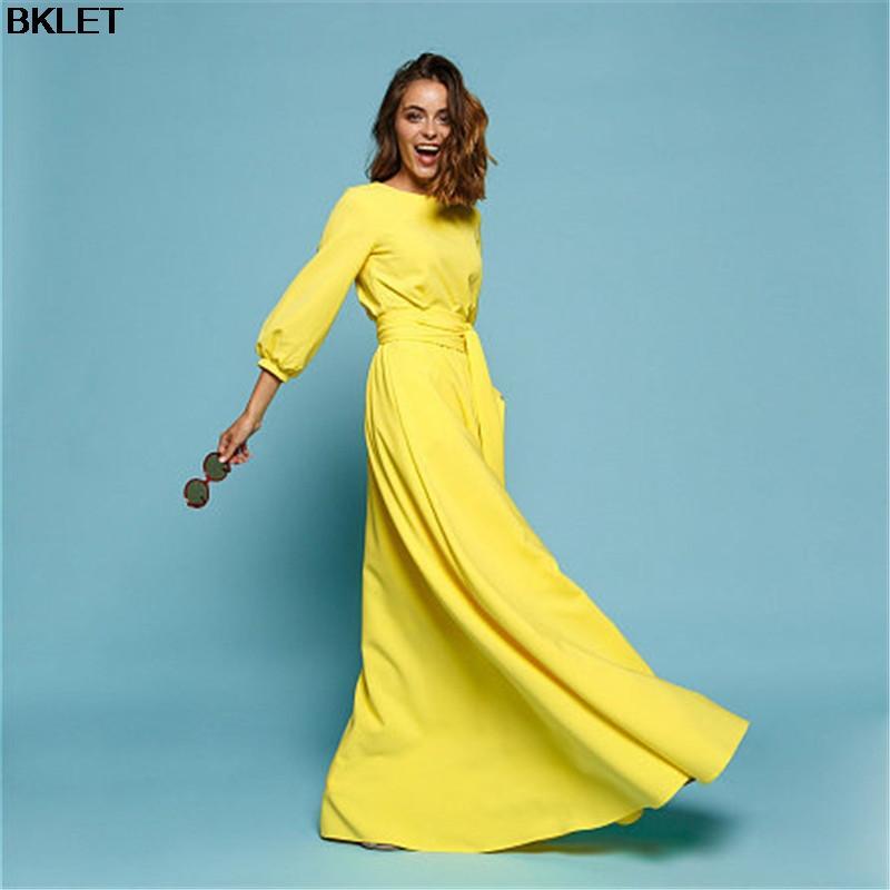 New Spring Yellow Dress O-neck Three-quarter Sleeve Floor-length Maxi Dress  Plus Size S-4XL Vestido De Festa Women Long