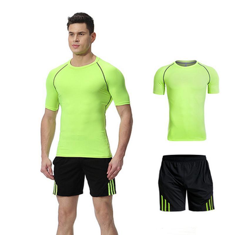 2cfa6dc3993063 Großhandel 2 Stücke Laufen Anzüge Männer Fitness Kleidung Kurzarm  Kompression Kleidung Sport Homme Jogging Run Set Gym Sportbekleidung Von  Pekoe