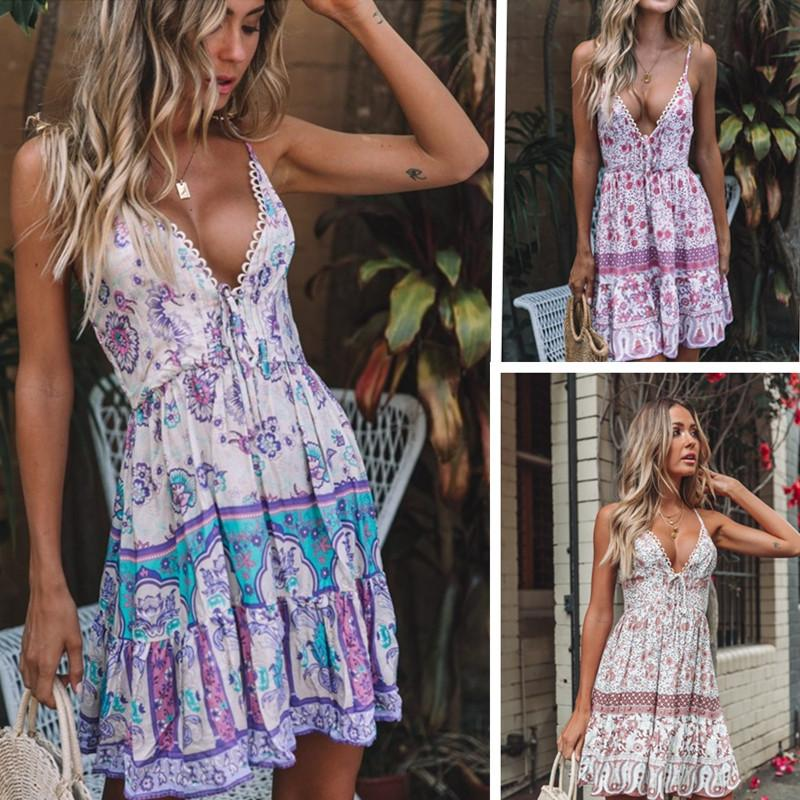 Vestido de playa 2019 Mujeres Sexy Sling Lace Stitching Print Dress 3 Color S-2XL