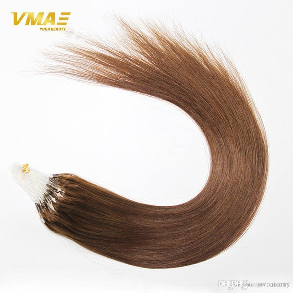 Virgin Brazilian Micro Ring Loop Hair Extensions Micro Link Beads Human Hair Extension Silky Straight Keratin Fusion Ombre Red Blonde