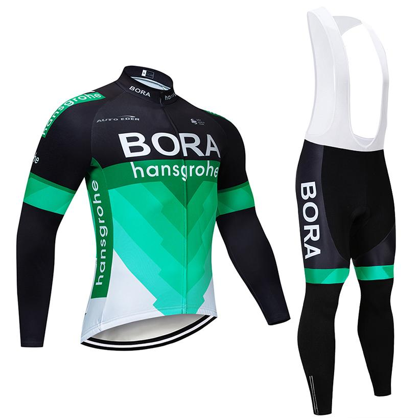 2018 Pro Team Green BORA Long Cycling Jersey Set 12D Pad Bike Pants ... 4be2b86e3