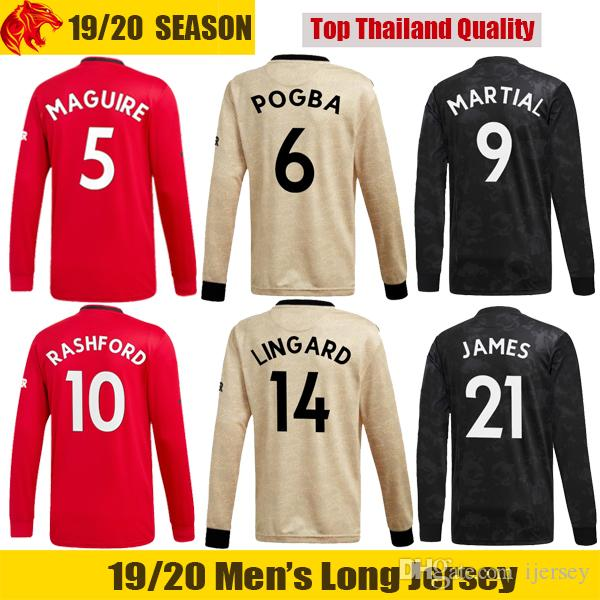 19 20 Manchester Long Sleeve Soccer Jerseys MARTIAL United 2019 2020 Man UTD LINGARD POGBA Long Jersey JAMES RASHFORD Long Shirt and Shorts
