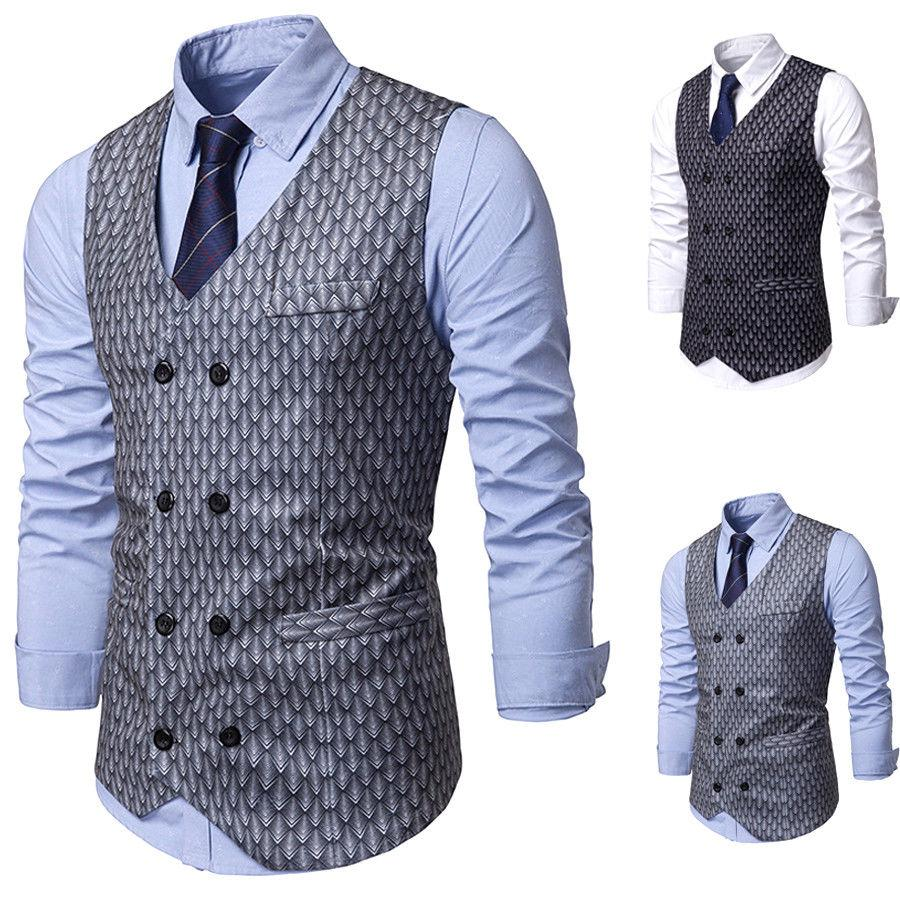a6fd737664 2019 New Style Fashion Hot Men s Formal Business Casual Dress Vest Suit  Slim Fit Waistcoat Coat Button V Neck