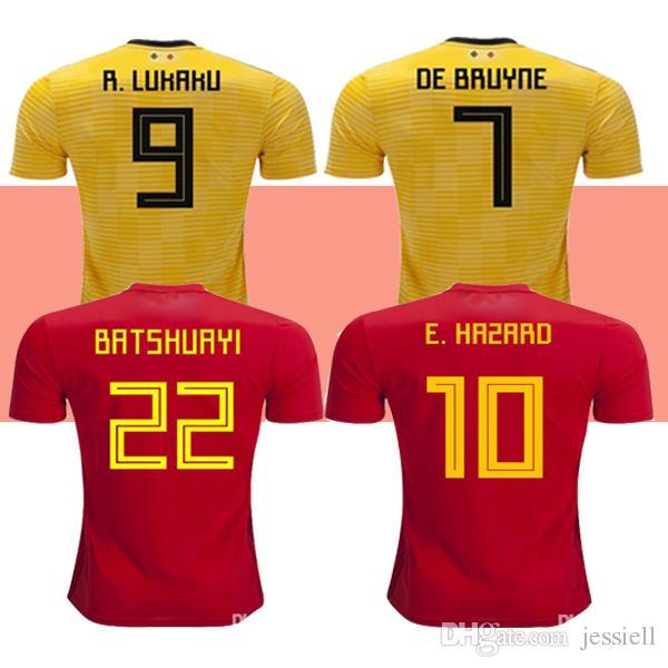 quality design 0cda2 827a9 New 2019 Belgium away soccer jerseys De Bruyne LUKAKU football shirt HAZARD  BATSHUAYI Camiseta futbol KOMPANY DEMBELE 2018 world cup