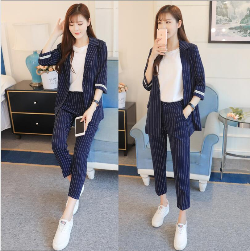 9b6c9dd7f75 Fashion Pants Suits Women Single Button Half Sleeve Striped Blazer ...