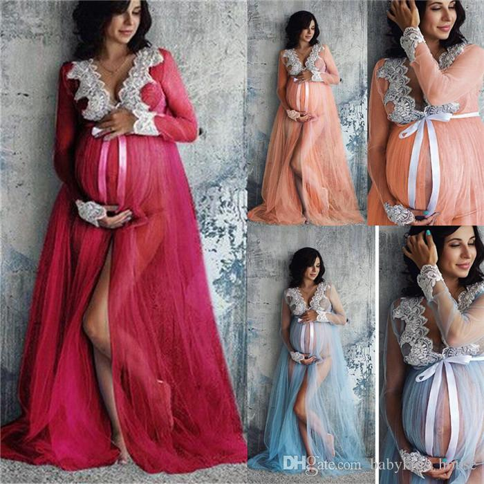 Women Lace Maternity Dress Maternity Photography Props Lace Pregnancy Clothes Maternity Dresses For Pregnant Photo Shoot Cloth