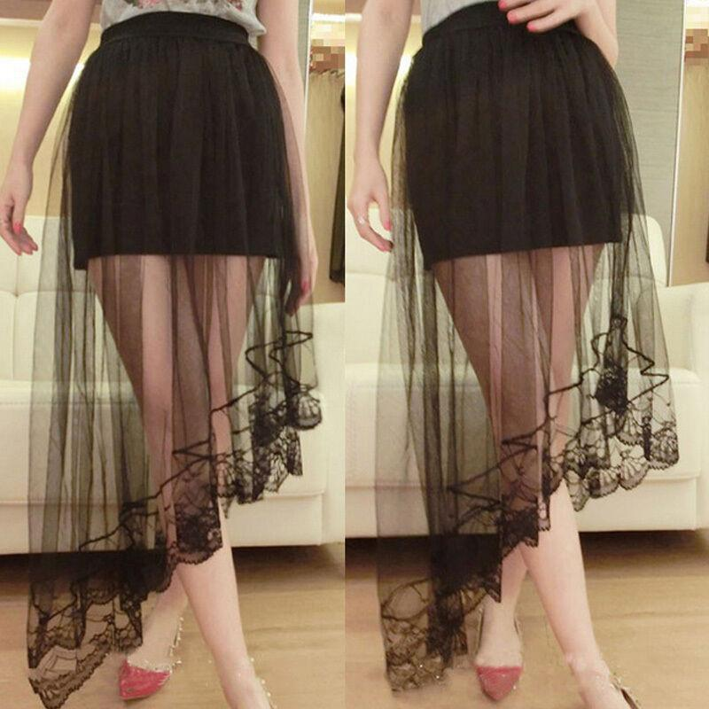 hot Summer Women Lace Skirts Fashion Solid Casual Mesh tulle skirt Hollow Out short Pencil Elegant elastic Black White Skirt