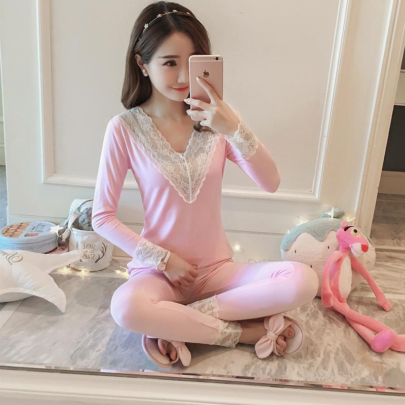 b910787dbcc3 MISHI Ropa Interior Térmica Con Cuello En V Pijamas Mujer Sset Rosa Pijamas  Lindos Mujeres Pijamas Ropa de dormir Ropa para el hogar Ropa de manga ...