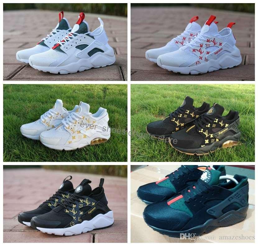 new style 20586 ad6ba Acheter Nike Air Huarache LV Gucci Supreme Ultra Running Shoes Mens Women  Mesh Huaraches Red White Black Brand Huraches Hurache Trainers Off Designer  ...
