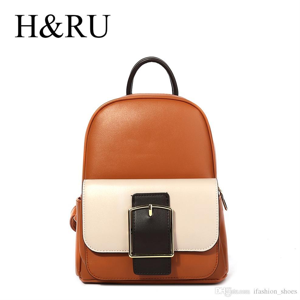fe18306ba0f3 H&RU Brand Fashion Female Mini Backpack Belt Design School Bag Pack for  Girls PU Leather Ladies Shoulder Bags Mochilas Feminina #92197