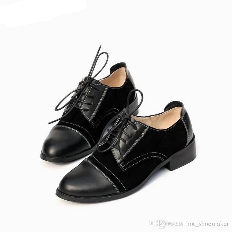 97dd472204 Compre 2018 Moda Brogue Oxford Sapatos Femininos Preto Marrom Oxford Sapatos  Para As Mulheres Apartamentos Mocassins Sapatos Femininos Zapatos Mujer #  11262 ...