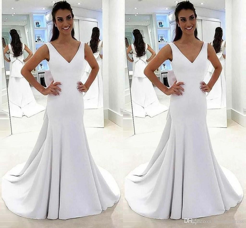 Satin Mermaid Wedding Gown: 2019 Simple White Satin Mermaid Wedding Dresses Big Bow