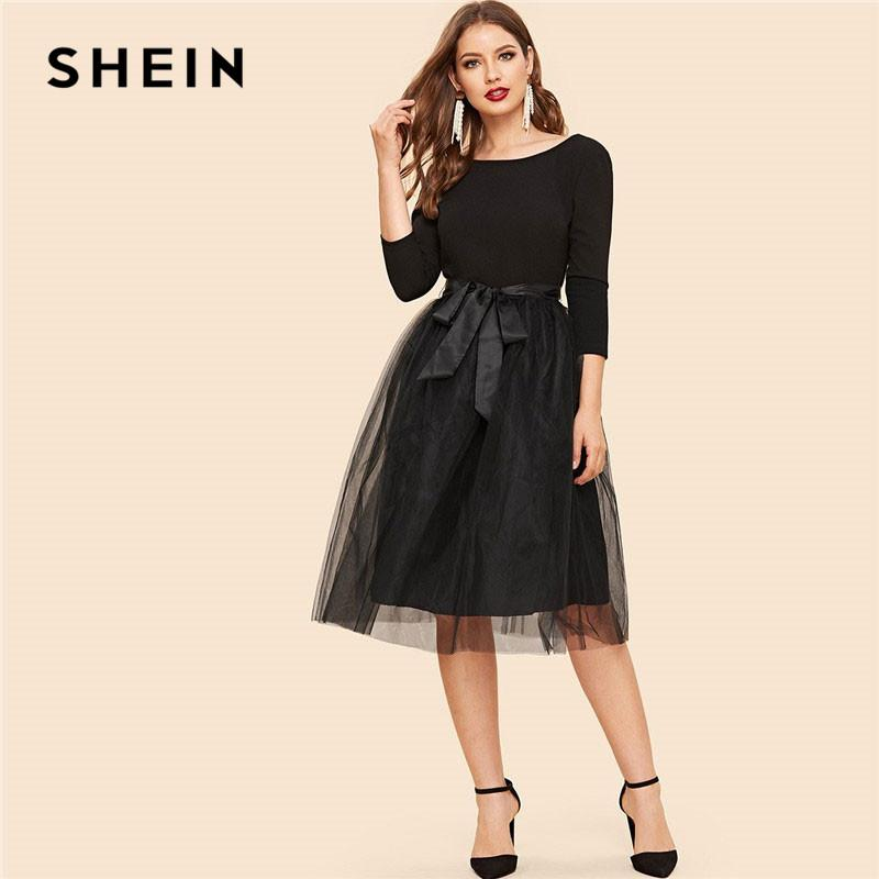 70f4bc5891 SHEIN Black Bow Tie Waist Mesh Overlay Highstreet Fit And Flare Elegant Dress  Lace A Line Backless Belted Skinny Women Dress Floral Dress For Women Black  ...
