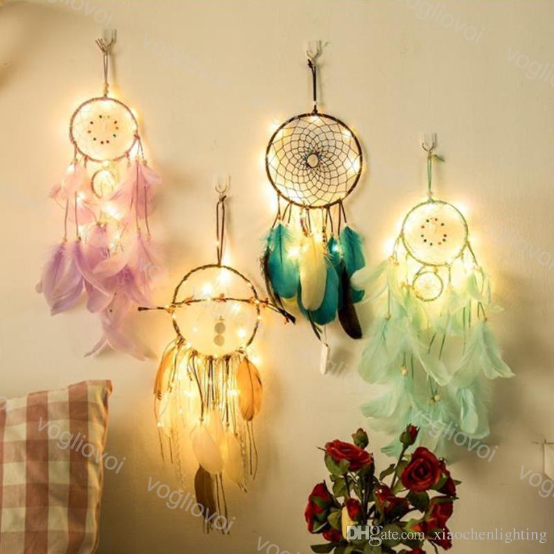 Weihnachtsbeleuchtung Lichterketten Led.Weihnachtsbeleuchtung Lichterkette Led Para Celular Indian Dream Catcher Net Schlafzimmer Wanddekor Neuheit Geschenke Für Kinder Frauen Zimmer Dhl