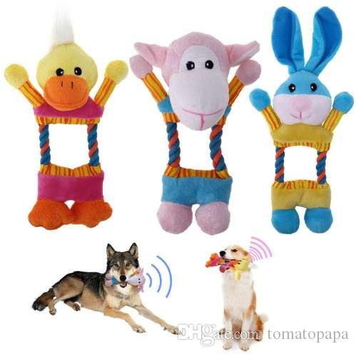 Lovely Dog Toys Pet Puppy Chew Plush Cartoon Animals Chick Rabbit Mouse Shape Squeaky Plush Dog Toy Pretty And Colorful Pet Products