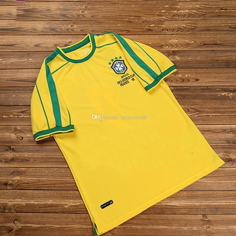 2019 1998 Brazil Retro Home Soccer Jerseys 2002 Brasil Retro Classic Shirts  Carlos Romario Ronaldo Ronaldinho Jersey Camisa De Futebol 1994 From  Jersey6688 2593fba35