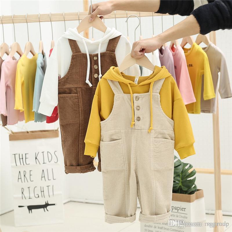 Newest INS Toddler Kids Boys Jumpsuits Overalls Blet Rompers Cotton Front Buttons Pocket Designs Spring Autumn Children Girls Boys Suspender