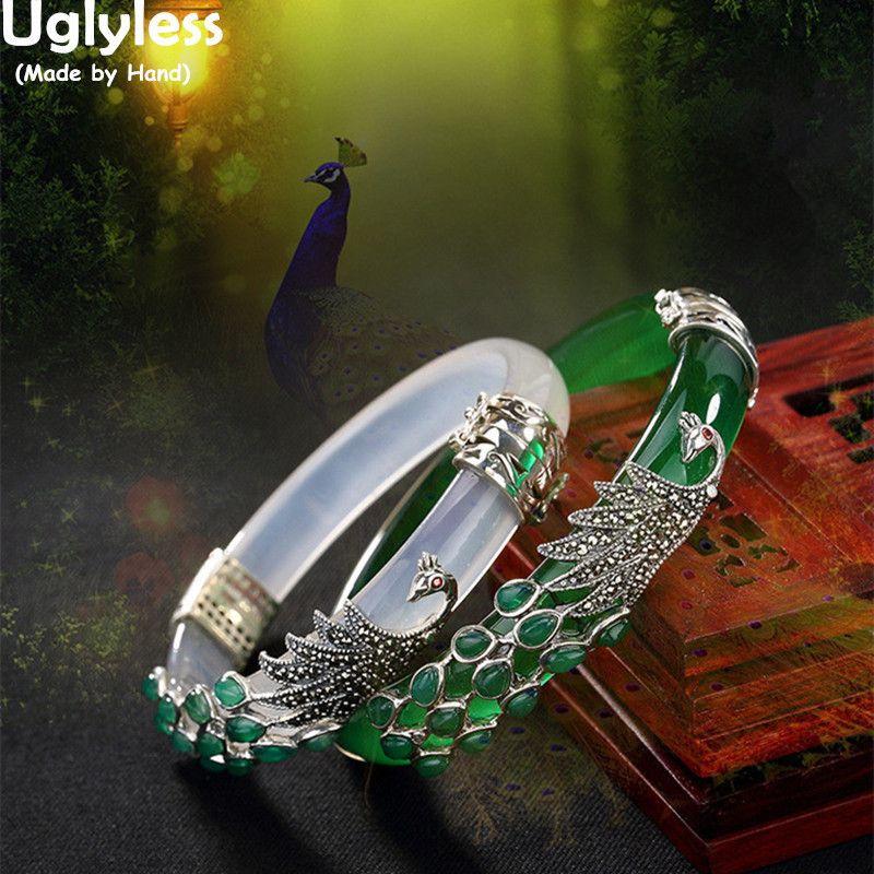 07caedd772cf2 Uglyless S925 Sterling Silver Bracelet Women Thai Silver Chalcedony Bangle  Jade Vintage Marcasite Peacock Bangles Fine Jewelry J 190513
