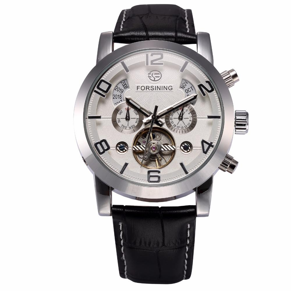 Forsining Men Clock Automatic Stainless Steel Case Black Leather Strap Complete Clendar Display Men Casual Mechanical Watch J190614