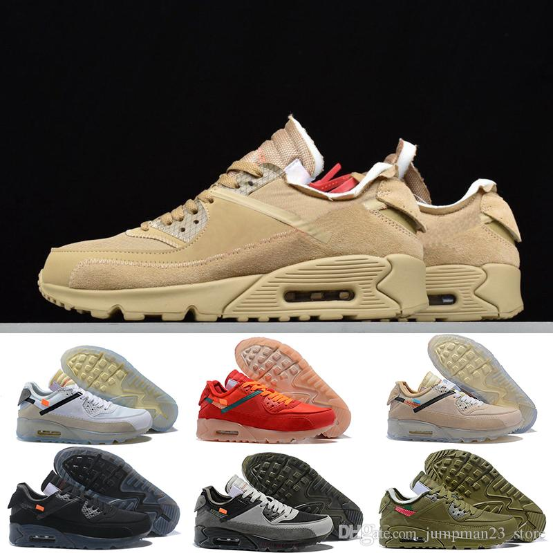 Nike Air Max 90 Hombres Off Zapatos para correr Zapatillas de deporte Hombre Desierto Mineral Marrón Airing Diseñadores de moda Lujo Clásico 90s