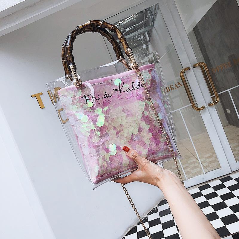 Fashion Woman Transparent Straw Handbag Lady Travel Beach Shoulder Crossbody Chain Bag Outdoor Pictures Props Bags TTA570