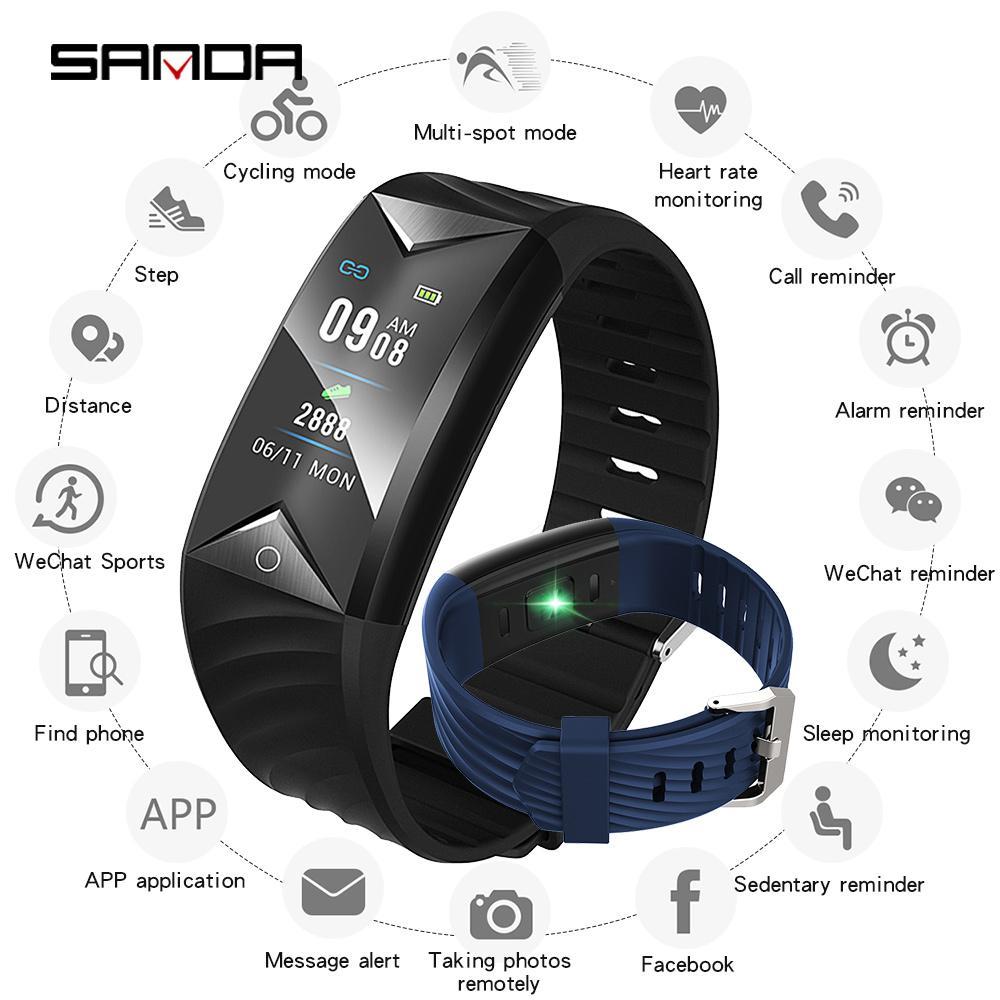 927e9bcc9c7d Compre SANDA Pulsera Inteligente Para IOS Android Hombres Bluetooth Deporte  Reloj Inteligente Mujeres Pulsera Rastreador De Fitness De Presión Arterial  De ...