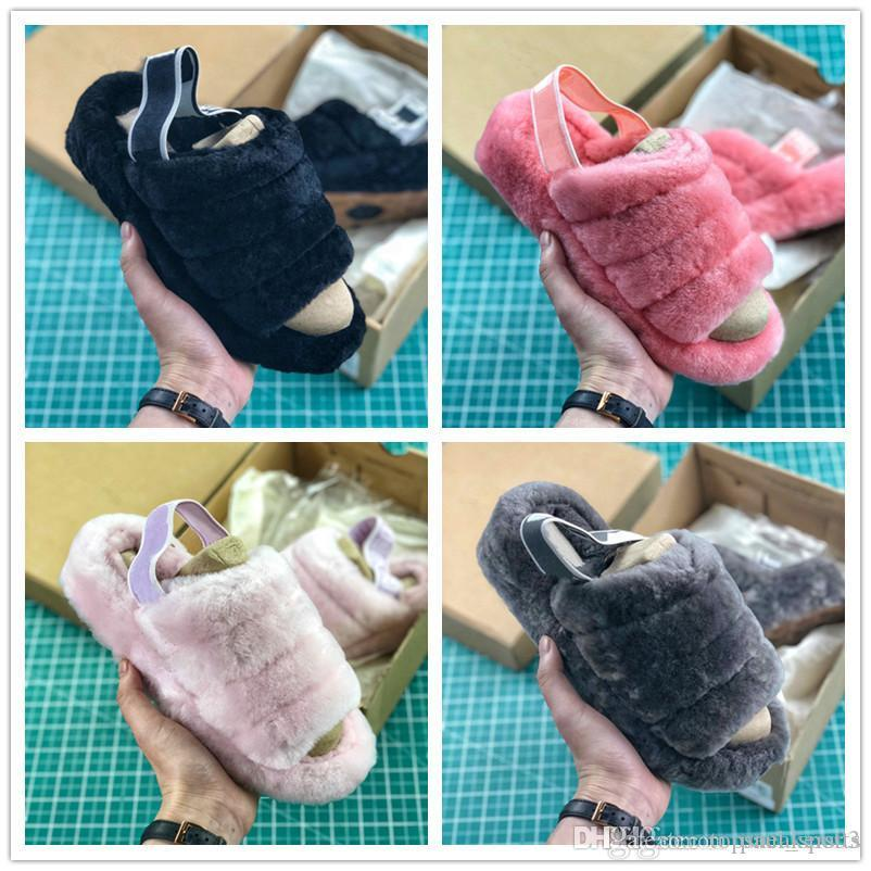 bc273a9f6b8 Fluff Yeah Slide Fur Slippers Luxury Designer Slides Fashion Shoes for Good  quality Black Grey Pink Women Classic Size 35-40